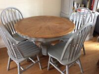 Solid Wood Table and 4 chairs in Annie Sloane French Grey