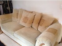 3 seater and 2 seater sofa with option of single chair. Hard wearing corduroy beige material £300ono
