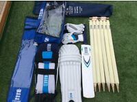 England ECB cricket bat stumps pads and gloves with bags kit set bundle bargain