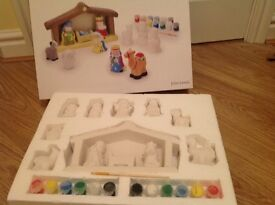John lewis paint your own pottery nativity set -new