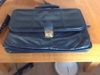 Black leather laptop bag/briefcase by DOMO