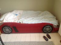 Children's red car single bed
