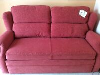 Double sofa bed in red brocade very good condition