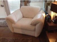 White leather two seater sofa and armchair