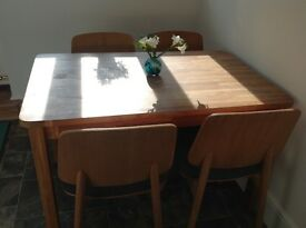 Oak Dining Table and chairs Danish style
