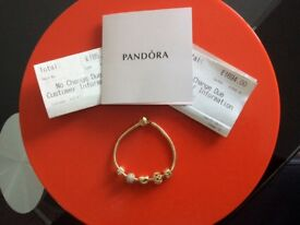 Gold Pandora Bracelet with Charms