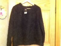 Next black fluffy jumper size 16