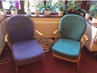 Pair Of Ercol Vintage/retro Blonde Chairs