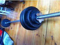 5FT BARBELL BAR + 27KG CAST IRON WEIGHTS