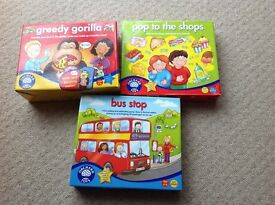 Orchard toys. Greedy gorilla, Pop to the shops, Bus stop.