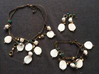 Shell/Bead/Charm Necklace, Earring, Bracelet Set