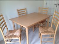 KITCHEN DINING FOUR LIGHT BEECH WOOD LADDER BACK CHAIRS with RUSH SEATS and RECTANGULAR TABLE