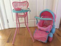 ELC cup cake dolls pram and high chair bundle
