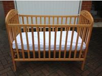 Wooden Cot Bed with waterproof covered mattress