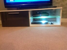 White & grey gloss led tv unit