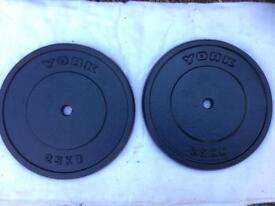 2 x 25kg York Standard Cast Iron Weights