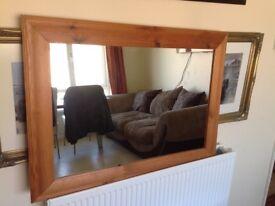 Large Honey Pine Framed Mirror 35in x 23in