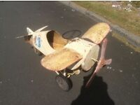 GENUINE 1920's CHILDS VINTAGE AEROPLANE PEDDLECAR. METAL AND WOOD BUILT. FACTORY BUILT AND GENUINE.