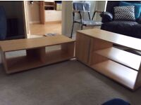 beech veneer low coffee table and matching tv stand/table