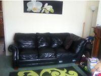 ***Large Black Leather 5 seater Corner sofa!!*** £99