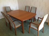 Teak dining table and six chairs, made by G plan