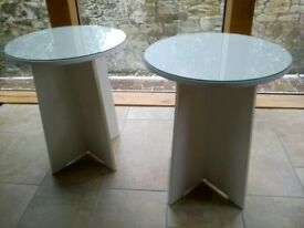 Pair of matching glass top tables