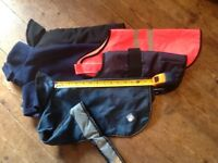 """Bundle of 5 terrier size dog coats. Between 12"""" & 14"""". Washed and ready to go."""