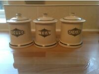 1896 Victorian Pottery storage jars in green