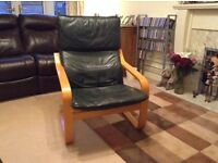 IKEA POANG chair with leather seat pad