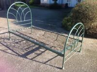 Original Old single 3' Metal bed for sale with spring base from Heals of London