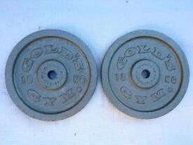 2 x 10kg Gold's Gym Silver Standard Cast Iron Weights