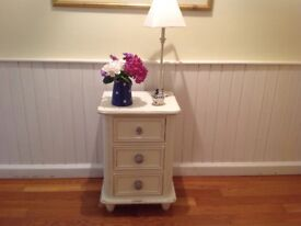 HAND PAINTED IN SHABBY CHIC STYLE THREE DRAWER STORAGE/BEDSIDE CHEST