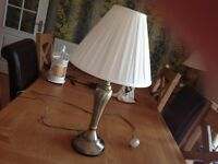 Burnished brass Table lamp stand and cream shade