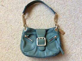 DKNY green leather bag with gold chain