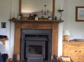 Wooden fire surround and Mirror