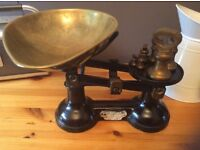 Vintage brass weighing scales and weights