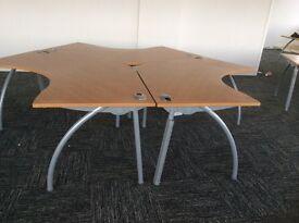 Three Angled Beech Desks