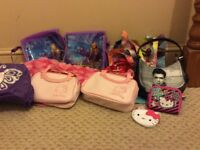 Huge selection of girls bags (mostly 2 of each) - hello kitty, Hannah montanna