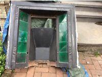 Victorian original cast iron tiled fireplace insert