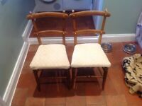2 x solid hardwood antique dining chairs
