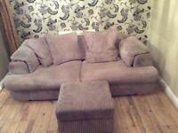 3 Seat sofa with storage footstool