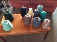 Various cones of machine knitting wool