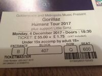 Gorillaz tickets at O2, Monday 4th Dec - pair of tickets - good seats