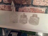 Glass jars, vintage x 3