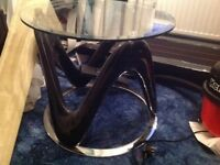 Glass lamp table / coffee table , chrome base , high gloss black legs , glass top cost £120 new