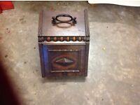 Antique oak coal scuttle