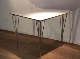 "Vintage FRITZ HANSEN White square ""Super-Elliptical"" dining table by Arne JACOBSEN, Piet HEIN"