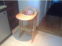 East Coast adjustable wooden high chair with removable tray