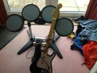 Xbox360 drum kits, with guitar and rockband2 game