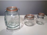 Kilner Jars. Assorted Jars with clamp top. 3 large, 3 medium and 9 small jars. Hardly used and clean